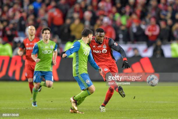 Toronto FC Forward Jozy Altidore passes the ball during the MLS Cup Final played between the Seattle Sounders and Toronto FC on December 09 2017 at...