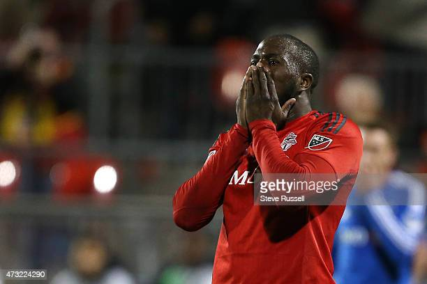 TORONTO ON MAY 13 Toronto FC forward Jozy Altidore reacts after a narrow miss as Toronto FC beats the Montreal Impact 32 in the SemiFinal of the...