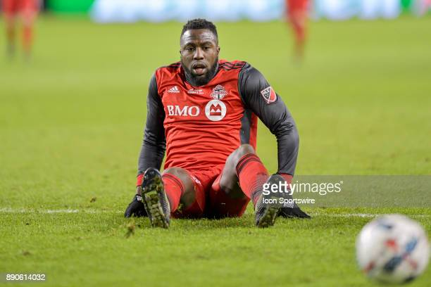 Toronto FC Forward Jozy Altidore reacts after being tackled by Seattle Sounders Defender Gustav Svensson during the MLS Cup Final played between the...