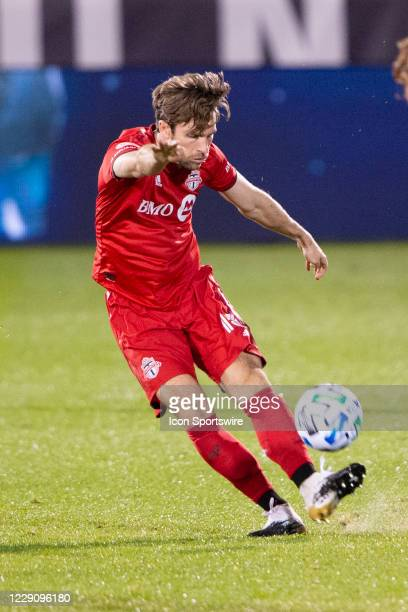 Toronto FC Forward Patrick Mullins kicks the ball up the field during the second half of a Major League Soccer match between the New York Red Bulls...