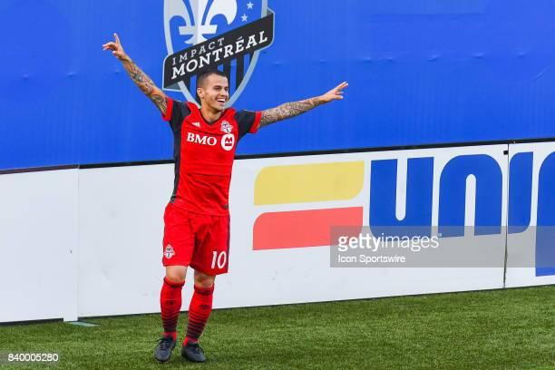 Toronto FC forward Sebastian Giovinco celebrating his goal making the score 31 Toronto during the Toronto FC versus the Montreal Impact game on...