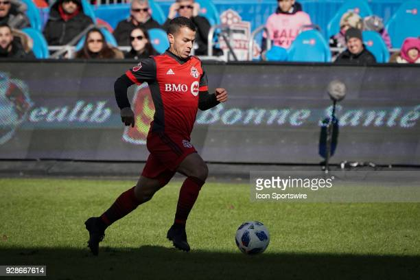 Toronto FC Forward Sebastian Giovinco in partial silhouette with the ball during the MLS regular season Toronto FC homeopener played vs the Columbus...