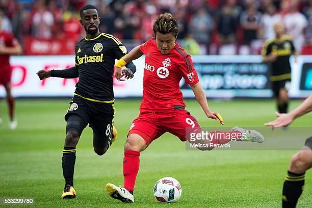 TORONTO ON MAY 21 Toronto FC forward Tsubasa Endoh passes the ball during the second half action of MLS season play between Toronto FC and Columbus...
