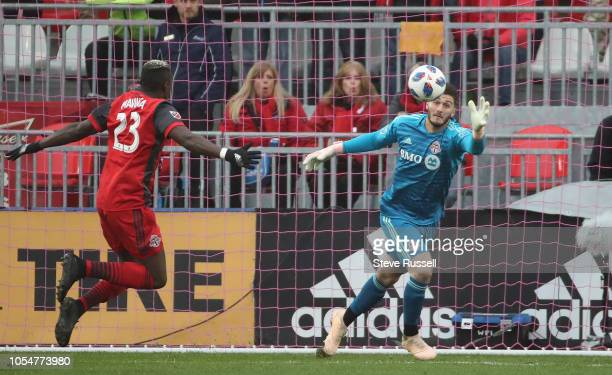 TORONTO ON OCTOBER 28 Toronto FC goalkeeper Alex Bono chases a ball as Toronto FC beat Atlanta United 41 in their final game to wrap up a...