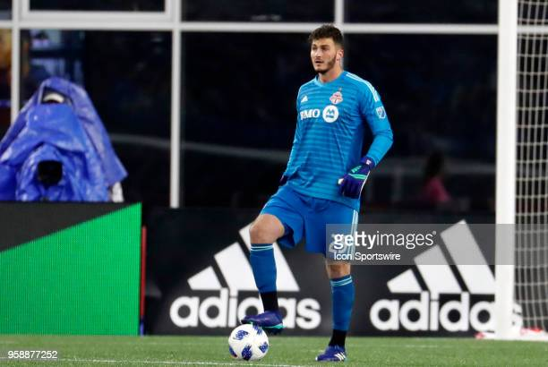 Toronto FC goalkeeper Alex Bono looks for options during a match between the New England Revolution and Toronto FC on May 12 at Gillette Stadium in...