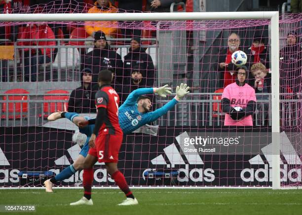 TORONTO ON OCTOBER 28 Toronto FC goalkeeper Alex Bono watches a ball sail wide as Toronto FC play Atlanta United in their final game of the season at...