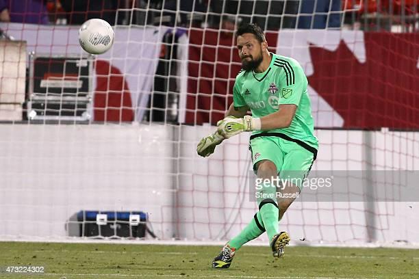 TORONTO ON MAY 13 Toronto FC goalkeeper Chris Konopka kicks the ball from the box asToronto FC beats the Montreal Impact 32 in the SemiFinal of the...
