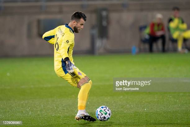 Toronto FC Goalkeeper Quentin Westberg controls the ball during the first half of a Major League Soccer match between the New York Red Bulls and...