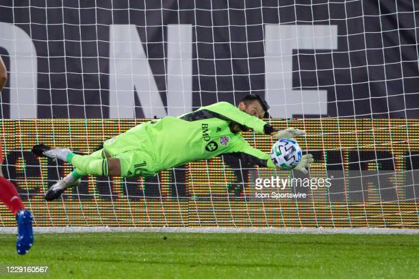 Toronto FC Goalkeeper Quentin Westberg makes a save during the second half of a Major League Soccer match between the Atlanta United FC and the...