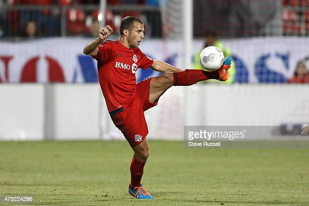 Toronto FC midfielder Benoit Cheyrou stops a ball as Toronto FC beats the Montreal Impact 3-2 in the Semi-Final of the Amway Canadian Championship at...