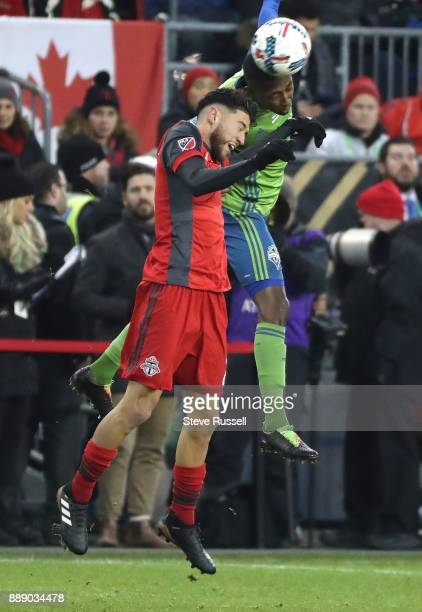 TORONTO ON DECEMBER 9 Toronto FC midfielder Jonathan Osorio battles a Sounder as the Toronto FC plays the Seattle Sounders in the MLS Cup Final at...