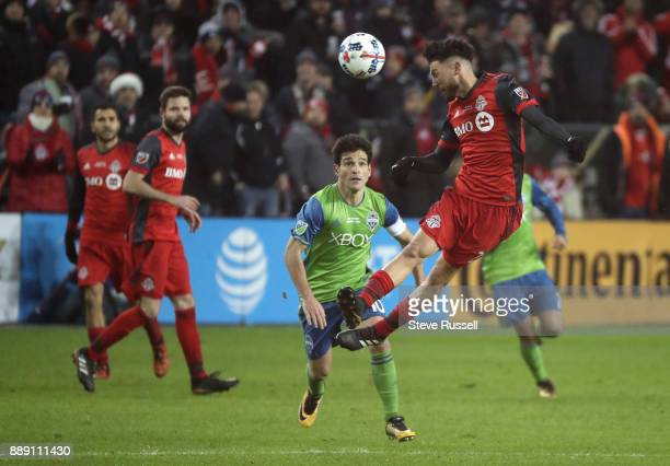 TORONTO ON DECEMBER 9 Toronto FC midfielder Jonathan Osorio gets his head on the ball as the Toronto FC beats the Seattle Sounders 20 in the MLS Cup...