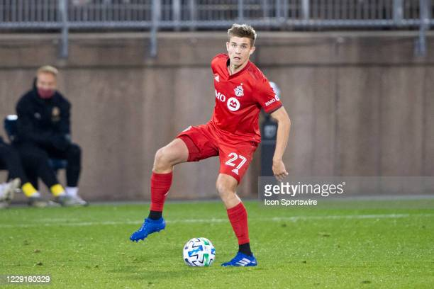 Toronto FC Midfielder Liam Fraser controls the ball during the second half of a Major League Soccer match between the Atlanta United FC and the...