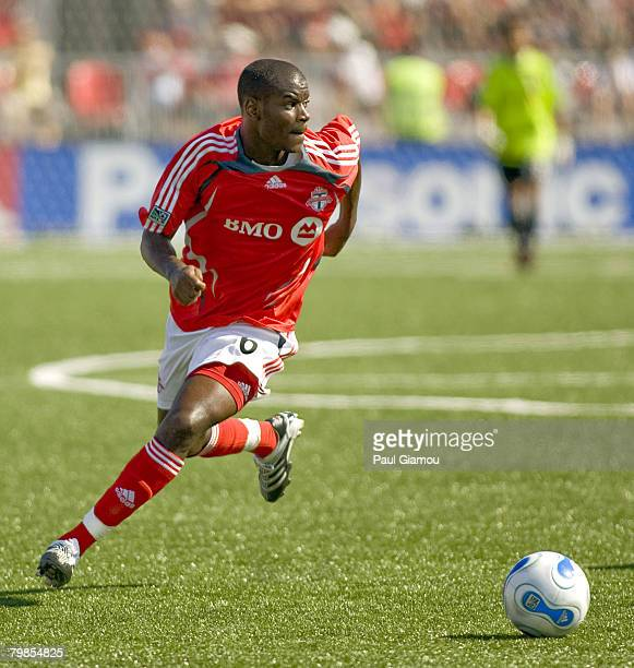 Toronto FC midfielder Maurice Edu controls the ballduring the match between Chicago Fire and Toronto FC at BMO Field on July 29 2007 in Toronto...