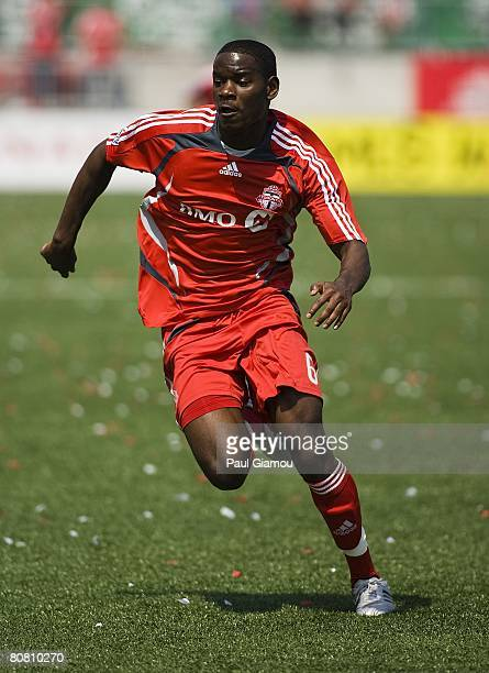 Toronto FC midfielder Maurice Edu sprints during the game against Real Salt Lake on April 19, 2008 at BMO Field in Toronto, Canada