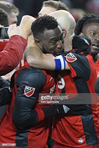 Toronto FC Midfielder Michael Bradley celebrates with Forward Jozy Altidore after the MLS CUP Finals between the Seattle Sounders and Toronto FC on...