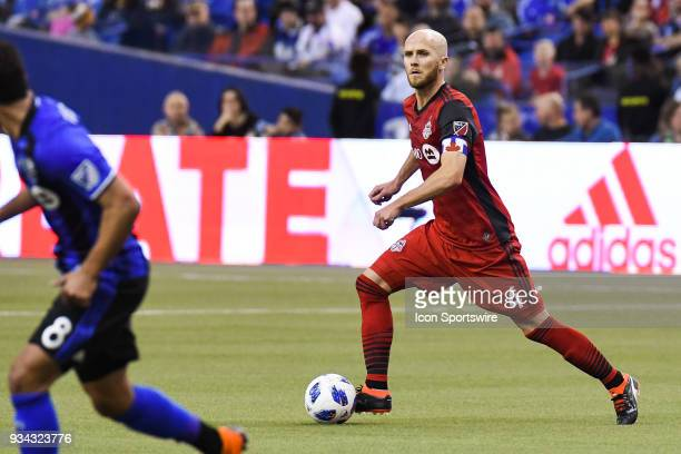 Toronto FC midfielder Michael Bradley looks for a pass target during the Toronto FC versus the Montreal Impact game on March 17 at Olympic Stadium in...