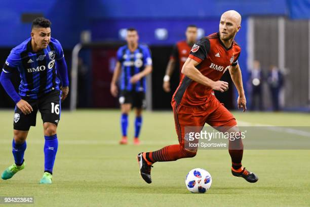 Toronto FC midfielder Michael Bradley looks for a pass target on his right side during the Toronto FC versus the Montreal Impact game on March 17 at...