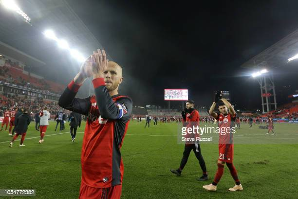 TORONTO ON OCTOBER 28 Toronto FC midfielder Michael Bradley thanks the fans as Toronto FC beat Atlanta United 41 in their final game to wrap up a...