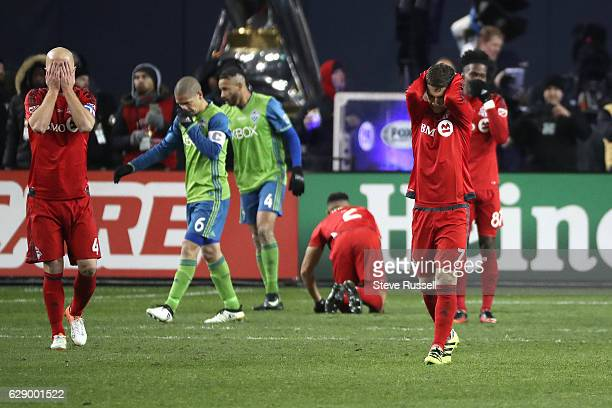 TORONTO ON DECEMBER 10 Toronto FC midfielder Michael Bradley Toronto FC forward Will Johnson react after a close call in extra time as Toronto FC...