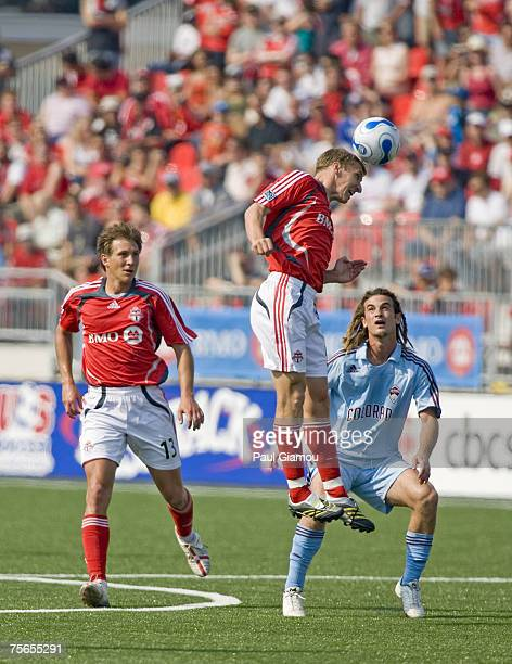 Toronto FC midfielder Ronnie O'Brien heads the ball during their match against Colorado Rapids in Toronto Ontario Canada on June 2 2007 Toronto won 21