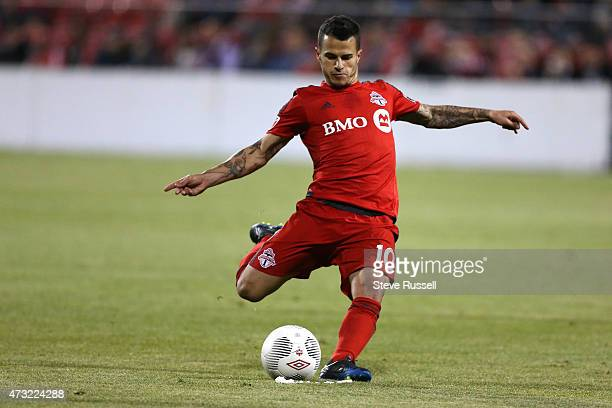 TORONTO ON MAY 13 Toronto FC midfielder Sebastian Giovinco unloads on what would be the winning goal as Toronto FC beats the Montreal Impact 32 in...