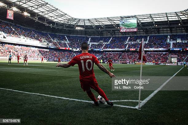 Toronto FC player Sebastian Giovinco takes a corner kick during the Soccer MLS NY Red Bulls vs Toronto FC March 06 2016 Home Opener at Red Bull Arena...