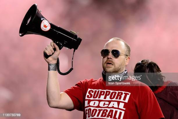 Toronto FC supporter holds up a bullhorn during the MLS regular season match between Toronto FC and New York City FC on March 29 at BMO Field in...