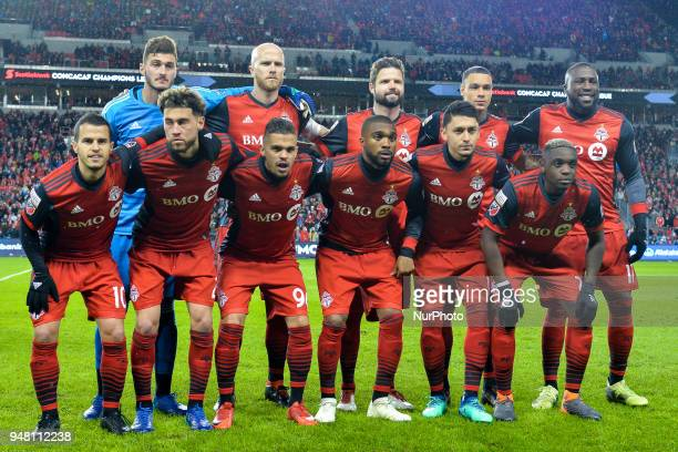 Toronto FC team before the 2018 CONCACAF Champions League Final match between Toronto FC and CD Chivas Guadalajara at BMO Field in Toronto Canada on...