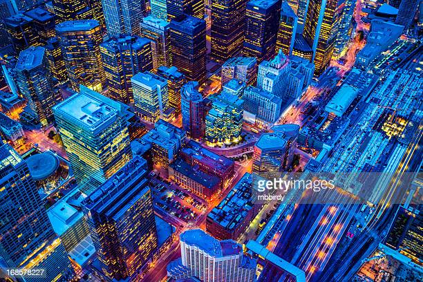toronto financial district cityscape at dusk - toronto stock pictures, royalty-free photos & images
