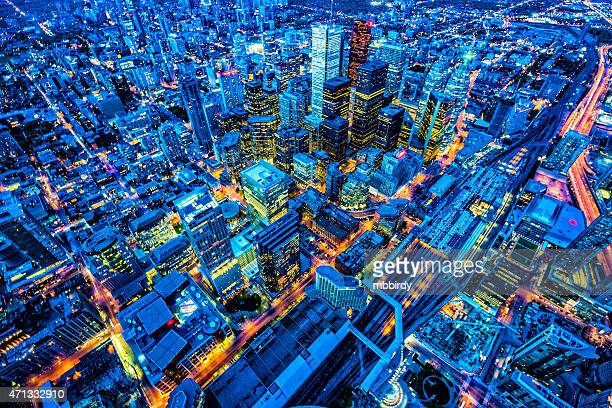 toronto financial district cityscape at dusk - illuminated stock pictures, royalty-free photos & images