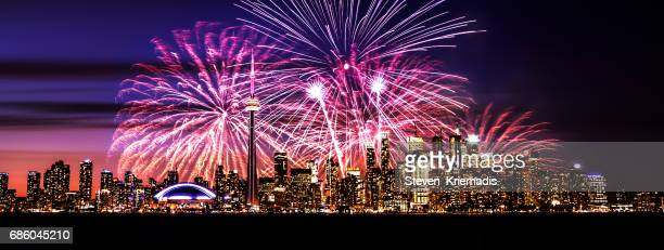 toronto fireworks - happy birthday canada stock pictures, royalty-free photos & images