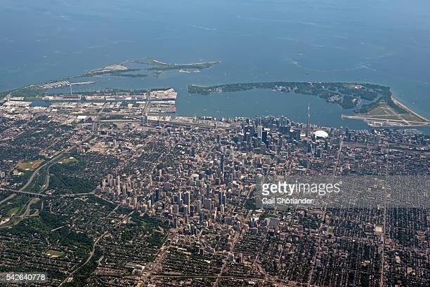 toronto from air - urban sprawl stock pictures, royalty-free photos & images