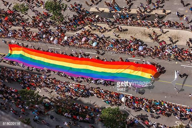 Toronto Gay Pride Parade large multi-coloured flag