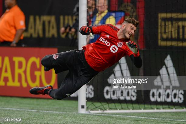 Toronto goalkeeper Alex Bono warms up prior to the start of the match between Atlanta United and Toronto FC on August 4th 2018 at MercedesBenz...