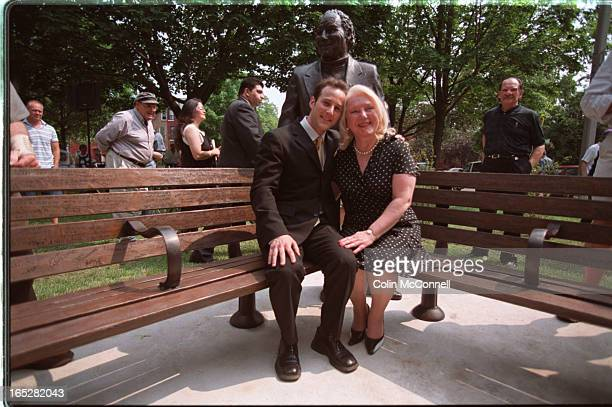 toronto june 23 2002 mcconnell the king returns to kensington pics of memorial statue and benches in park for the late al waxman ruth abernathy was...