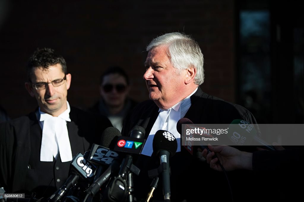 Toronto lawyer, Brian Greenspan, speak to the media after Marco Muzzo to pleads guilty in deadly Vaughan crash outside of the Newmarket Courthouse. : ニュース写真