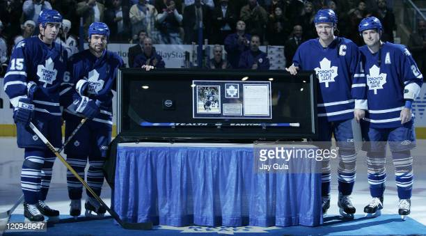 Toronto Maple Leaf captain Mats Sundin was presented with a framed plaque that contained the stick and puck that he scored his 500th career goal with...