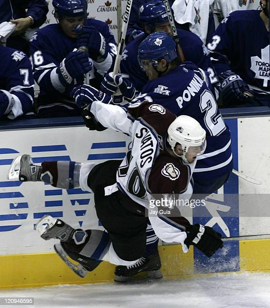 Toronto Maple Leaf forward Alexei Ponikarovsky takes out Colorado forward Marek Svatos in NHL action vs the Colorado Avalanche at the Air Canada...