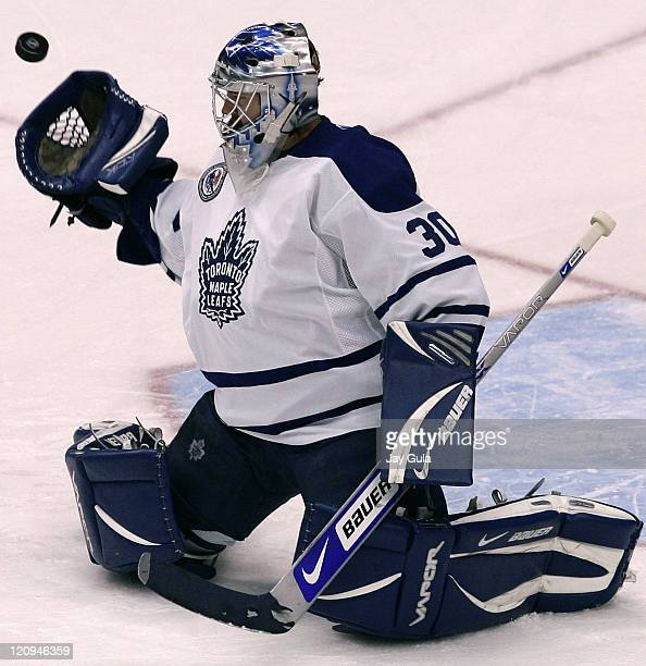 Toronto Maple Leaf goaltender JSAubin makes a save in action vs the Montreal Canadiens at the Air Canada Centre in Toronto Canada November 11 2006
