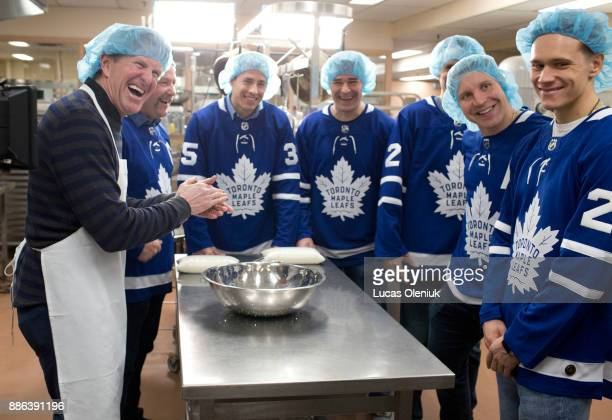 Toronto Maple Leaf head coach Mike Babcock joined Wendel Clark Curtis McElhinney Patrick Marleau Ron Hainsey Leo Komarov and Nikita Zaitsev in the...