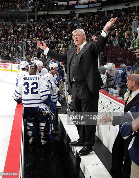 Toronto Maple Leaf head coach Pat Quinn complains to the referees at the end of their game against the Vancouver Canucks at General Motors Place on...