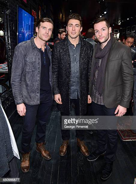 Toronto Maple Leaf Hockey players David Clarkson Joffrey Lupul and Jonathan Bernier attend the opening of the new Toronto store and the launch of...