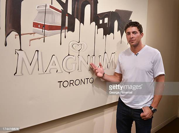 Toronto Maple Leaf NHL hockey player Joffrey Lupul visits the Magnum Pleasure store on July 25 2013 in Toronto Canada