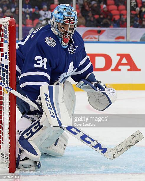 Toronto Maple Leafs alumni Cutis Joseph plays in the 2017 Rogers NHL Centennial Classic Alumni Game against the Detroit Red Wings alumni at...