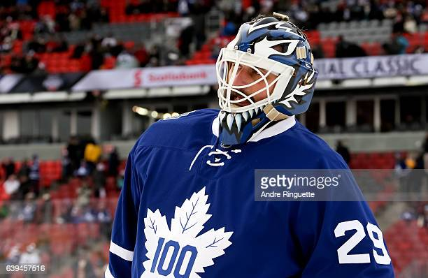 Toronto Maple Leafs alumni Felix Potvin looks on during the 2017 Rogers NHL Centennial Classic Alumni Game at Exhibition Stadium on December 31 2016...