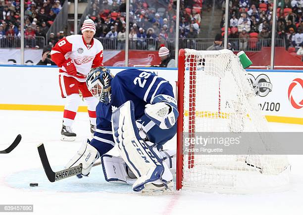 Toronto Maple Leafs alumni Felix Potvin makes a stick save during the 2017 Rogers NHL Centennial Classic Alumni Game at Exhibition Stadium on...