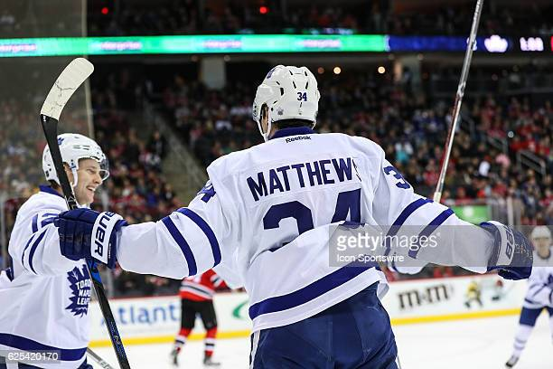 Toronto Maple Leafs center Auston Matthews celebrates after scoring his second goal during the first period of the National Hockey League game...