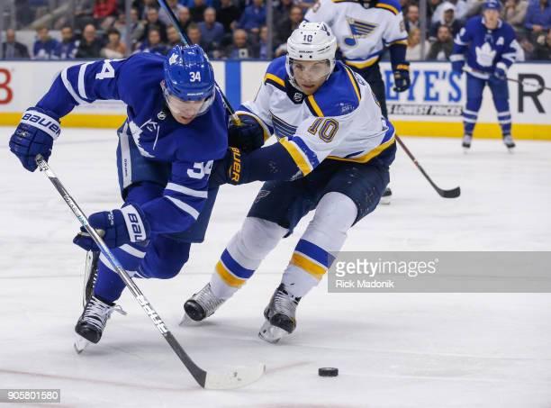 Toronto Maple Leafs center Auston Matthews does his thing as St Louis Blues center Brayden Schenn tries to keep up Toronto Maple Leafs VS St Louis...