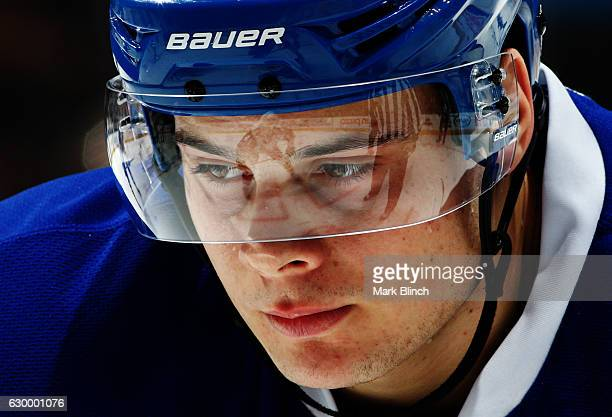 Toronto Maple Leafs center Auston Matthews prepares for a faceoff against the Arizona Coyotes at the Air Canada Centre on December 15 2016 in Toronto...